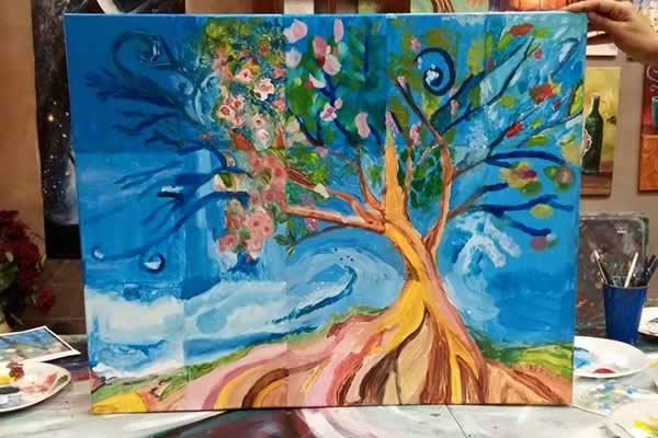 collaborative painting / team building painting class - Stroke of Genius Paint Wine Studio