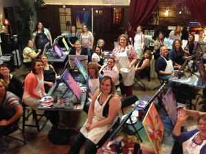 Bachelorette painting party - painting class - Stroke of Genius Paint Wine Studio
