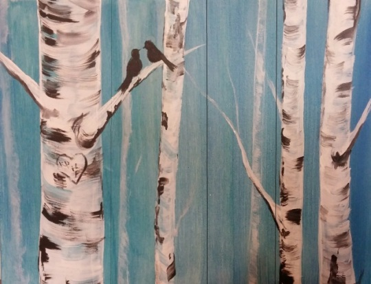 Birch Trees on Wood painting