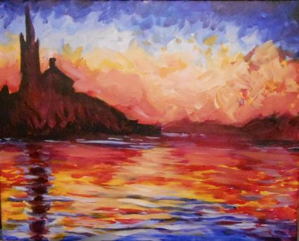 Monet's Sunset Over Venice painting