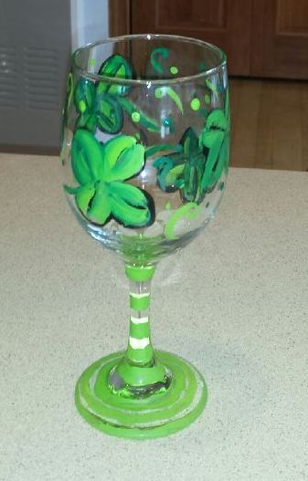 Shamrock painted wine glass