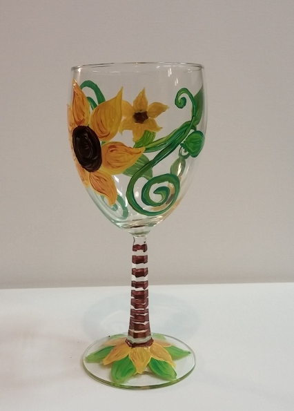 Sunflowers painted wine glass