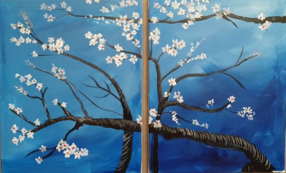 Van Gogh's Cherry Blossoms Couples painting