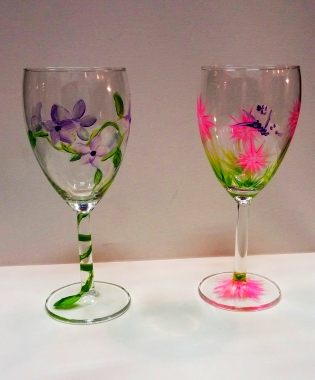 Violets and Pink Puffs painted wine glasses