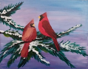 Winter Cardinals painting
