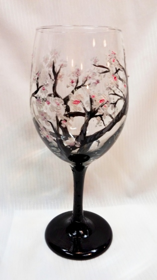 cherry blossoms painted wine glass