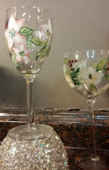 floral painted wine glass