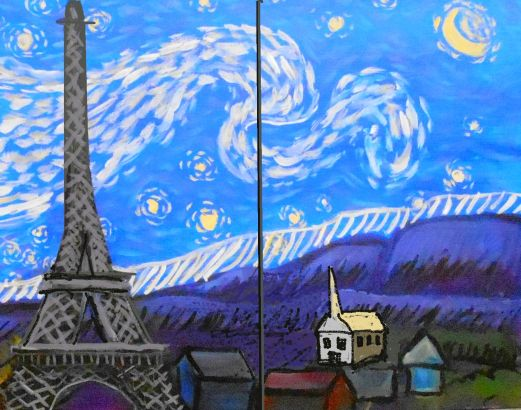 starry night eiffel tower painting
